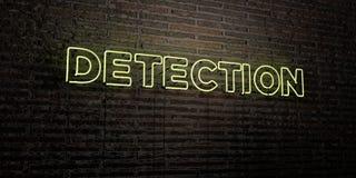 ОБНАРУЖЕНИЕ - реалистическая неоновая вывеска на предпосылке кирпичной стены - представленное 3D изображение неизрасходованного з иллюстрация вектора