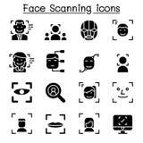 Обнаружение стороны, распознавание лиц, набор значка сканирования стороны иллюстрация вектора