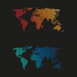 Обнаруженная местонахождение черная карта мира Стоковое Изображение