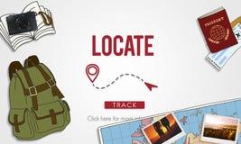 Обнаружьте местонахождение концепцию положения назначения направления положения бесплатная иллюстрация