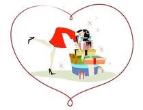обнимать женщину подарков Стоковое Фото