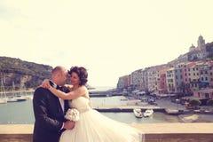 обнимать groom невесты Стоковое Изображение