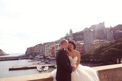 обнимать groom невесты Стоковые Изображения