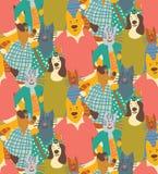 Обнимите друзей картины толпы приятельства собак и кошек любимчиков безшовных Стоковое Изображение