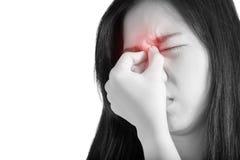 Обнюхайте симптом боли в женщине изолированной на белой предпосылке Путь клиппирования на белой предпосылке стоковые фото