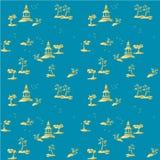 Обоев предпосылки картины шинуазри картина голубых золотых желтых традиционная безшовная Стоковые Изображения