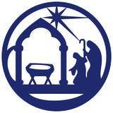 Обожание волхвов silhouette иллюстрация голубой o значка Стоковые Изображения RF
