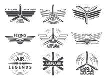 Обозначает логотипы для воинской авиации Символы авиатора в monochrome стиле бесплатная иллюстрация
