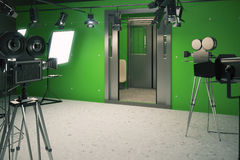 Обоз пейзажа киностудии с киносъемочными аппаратами Стоковое Фото
