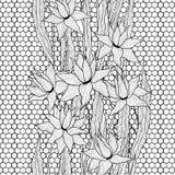 обои вектора флористической картины безшовные Королевские цветки лилий с стилизованным doodle выходят на шнурок решетки черная бе бесплатная иллюстрация