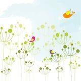 обои весеннего времени птицы цветастые флористические Стоковое Изображение