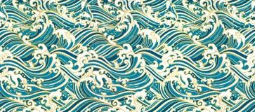 Обои восточной волны Японии безшовные иллюстрация вектора