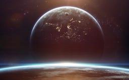 Обои космоса научной фантастики, неимоверно красивые планеты, галактики Элементы этого изображения поставленные NASA Стоковое Изображение