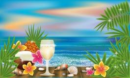 Обои лета тропические с коктеилем, вектором Стоковое Изображение
