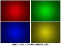 Обои предпосылки картины комплекта цвета Ornamental 4 Techno восточные иллюстрация штока