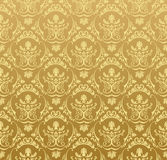 обои сбора винограда флористического золота предпосылки безшовные Стоковое фото RF
