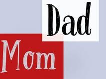 Обои семьи прекрасные и знамя предпосылки белого и красного цвета мамы и папы иллюстрация штока