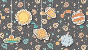 Обои с иллюстрациями нарисованными рукой ребяческими космоса стоковое изображение
