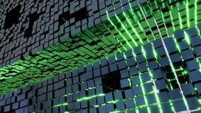 Обои с кубами металла и зеленым светом, иллюстрацией 3d иллюстрация вектора