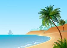 Обои с морским ландшафтом, с пляжем и пальмами иллюстрация вектора