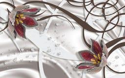 обои 3D, красные цветки ювелирных изделий, шелк и абстрактная предпосылка иллюстрация вектора