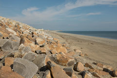 Оборона моря пляжа Стоковые Изображения