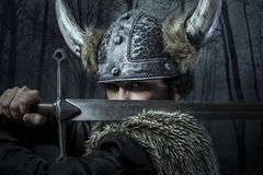 Оборона, ратник Викинга, мужчина одела в стиле варвара с sw Стоковая Фотография RF