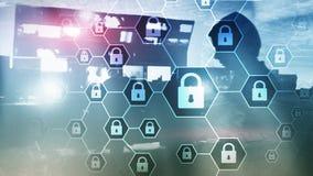 Оборона уединения Cybersecurity, информации, защиты данных, вируса и spyware стоковая фотография