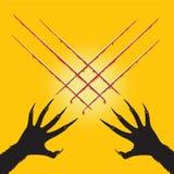 Оборотень руки отрезал форму x перекрестные и кровь, хеллоуин Стоковая Фотография RF