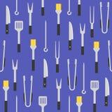 Оборудование барбекю как наметывать щетку, схваты, шпатель, seamle иллюстрация штока