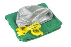 Оборудование подныривания заплывания snorkeling акватическое на белой предпосылке Стоковые Изображения RF