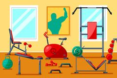 Оборудование спортзала фитнеса Стоковая Фотография RF