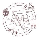 Оборудование хоккея Элементы спорт зимы Стоковые Изображения RF