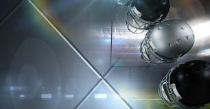 Оборудование шлемов американского футбола с геометрическим стальным переходом Стоковая Фотография