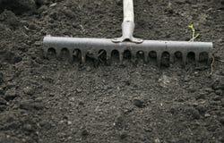 Оборудуйте грабл сада ровная чернота выкопала вверх завод земли весной стоковое фото rf