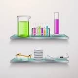 Оборудование лаборатории на составе полок бесплатная иллюстрация