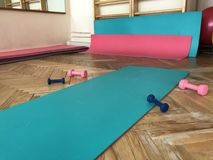 Оборудование комнаты терапевтической физической подготовки В открытых гантелях и шариках лож случая Стоковые Изображения