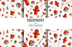 Оборудование пожарного картины цвета безшовное Плоская предпосылка значка Стоковые Изображения