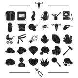 Оборудование, предохранение, педиатрия и другой значок сети в черном стиле ювелирные изделия, профессионал, медицина, значки в ко бесплатная иллюстрация
