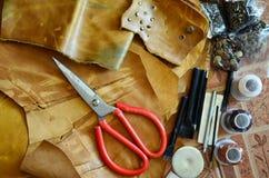 Оборудование стиля Handmade кожи местного тайского стоковое фото rf
