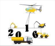 Оборудование строит календарь на 2016 вектор иллюстрация штока