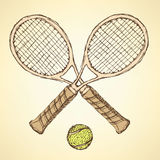 Оборудование тенниса эскиза Стоковые Изображения