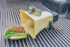 Оборудование для поглощенного насекомого, сверчок материалов моли, на поле приемистости как диктор, усилитель, Mp3 аудио, flashli Стоковое фото RF