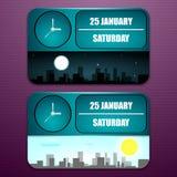 Оборудуйте часы с датой, днем недели, месяцем, и временем дня Стоковые Фотографии RF