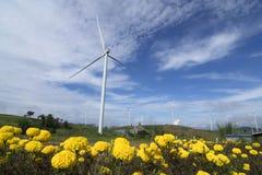 Обрабатываемая земля ветротурбин для производить электричество в Юго-Восточной Азии Стоковое Изображение