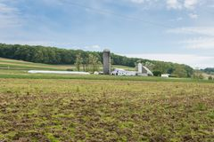 Обрабатываемая земля окружая парк Вильяма Kain в York County, Pennsylva стоковое фото rf