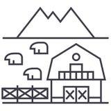 Обрабатывайте землю в линии значке вектора Тосканы, знаке, иллюстрации на предпосылке, editable ходах иллюстрация штока