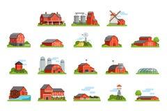 Обрабатывайте землю установленные дом и конструкции, индустрия земледелия и иллюстрации вектора зданий сельской местности бесплатная иллюстрация