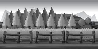 Обрабатывайте землю ландшафт, черно-белая иллюстрация для вас запроектируйте Стоковая Фотография RF