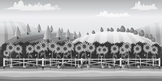Обрабатывайте землю ландшафт, черно-белая иллюстрация для вас запроектируйте Стоковое Фото